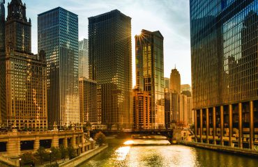 Chicago River and buildings with evening light
