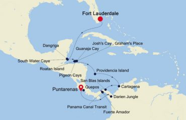 FT LAUDERDALE TO COSTA RICA MAP