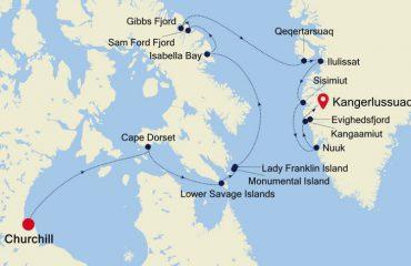 Map Chuchill to Kangerlussuaq
