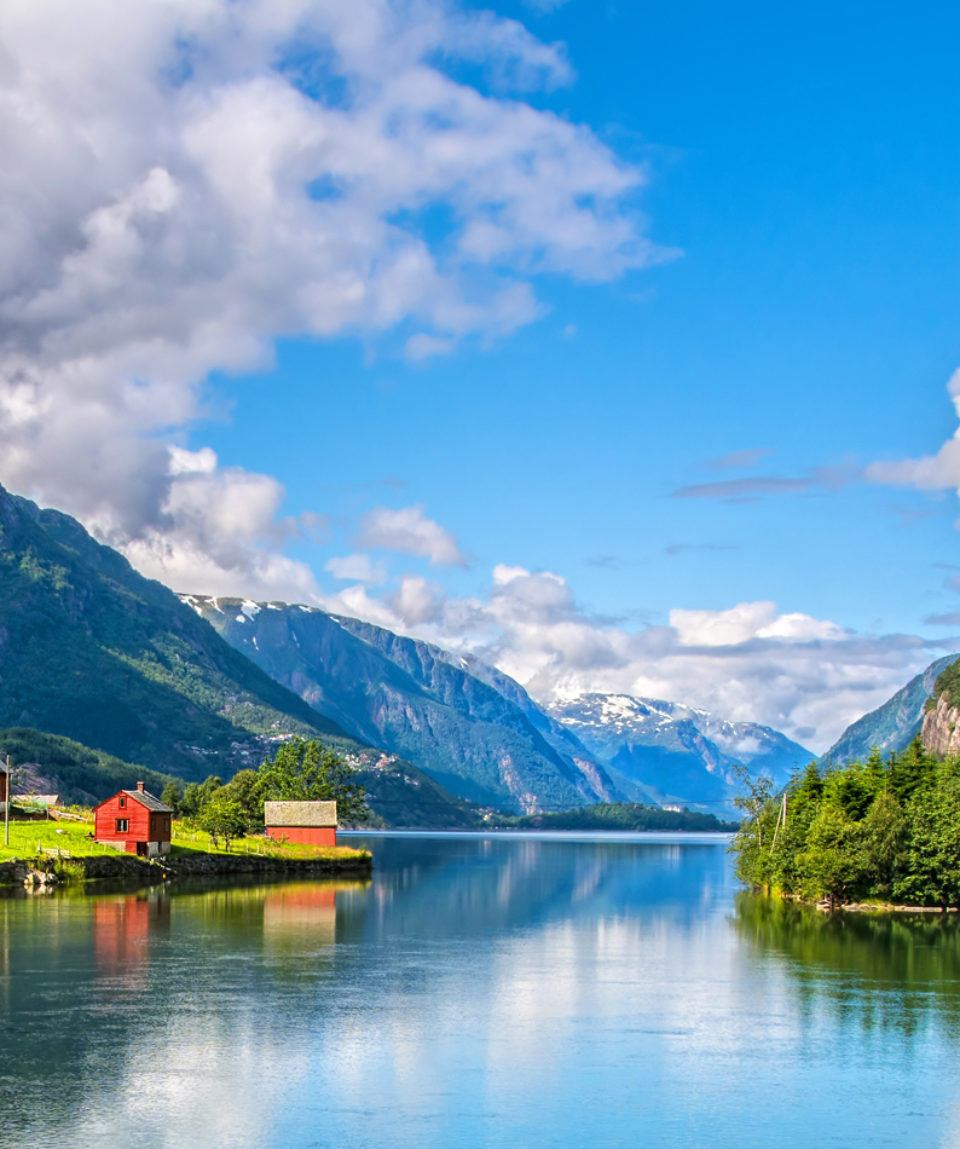 Amazing nature view with fjord and mountains. Beautiful reflecti