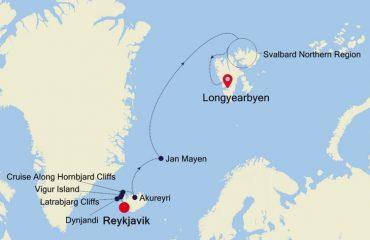 REYKJAVIK - SVALBARD MAP