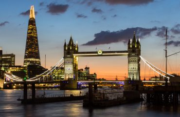 Tower Bridge, the Shard, city hall and business district in the