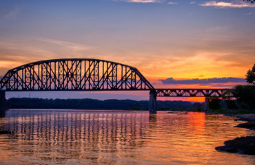 The Historic Fourteenth Street Bridge over the Ohio river, conne