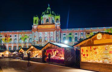 Christmas Market near Museum quarter in Vienna Austria