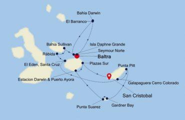 Baltra to San Cristobal Map