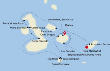 SAN CRISTOBAL TO BALTRA MAP