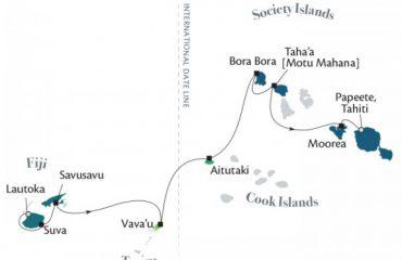 French Polynesia to Fiji Route Map
