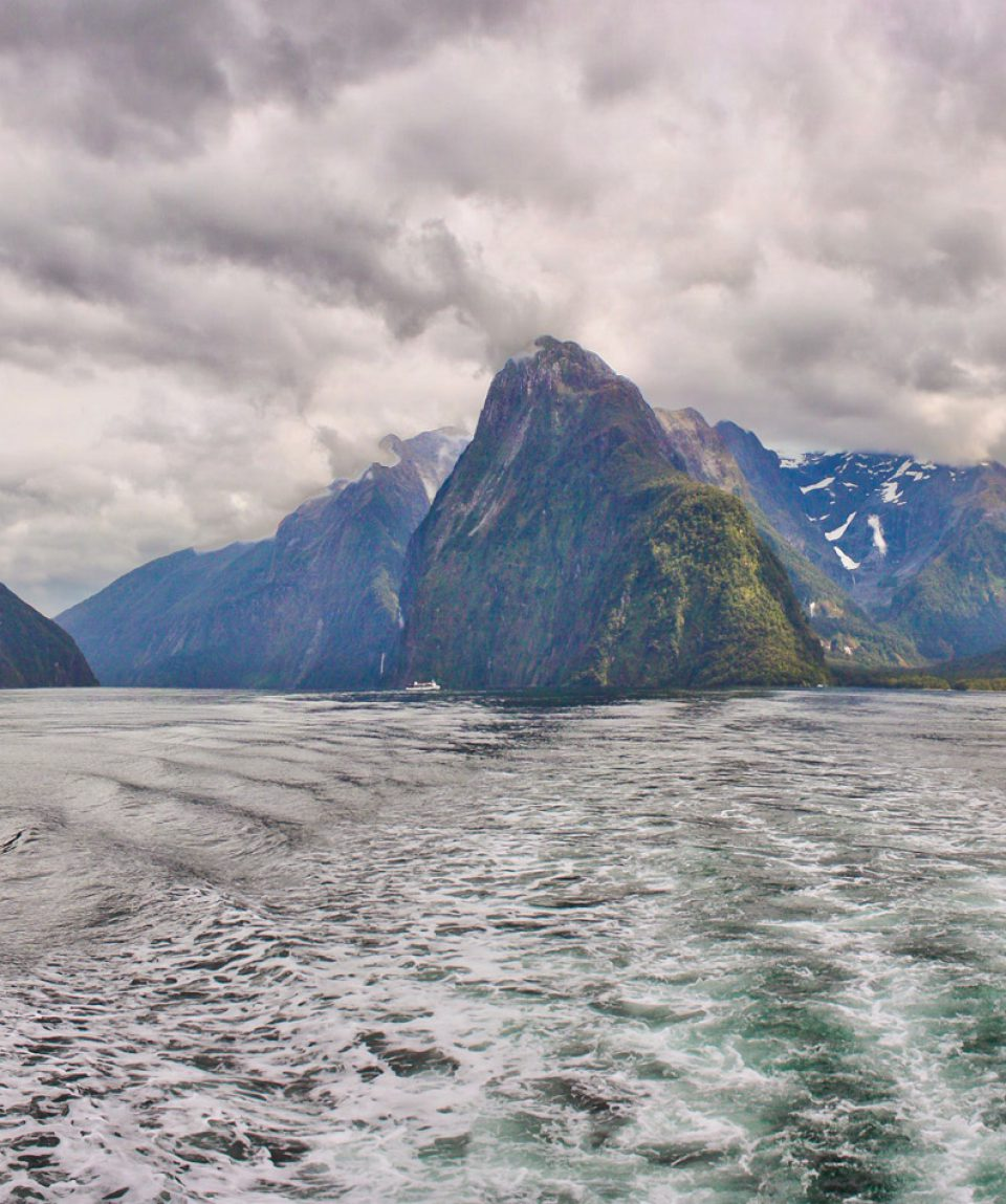 Boat tour on Milford Sound fjord in New Zealand