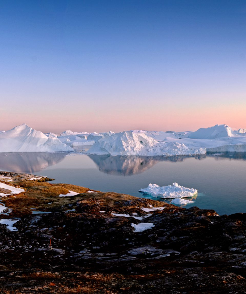 Beautiful icebergs are on arctic ocean in Greenland