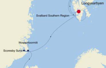 LONGYEARBYEN-REYKJAVIK - ROUTE MAP