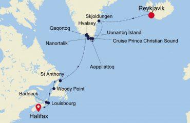REYKJAVIK TO HALIFAX MAP