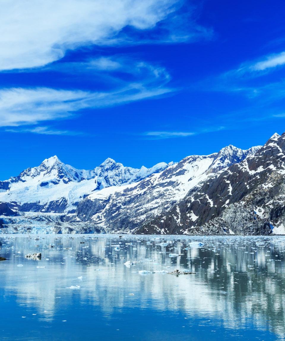 Panoramic view of Glacier Bay national Park. Alaska